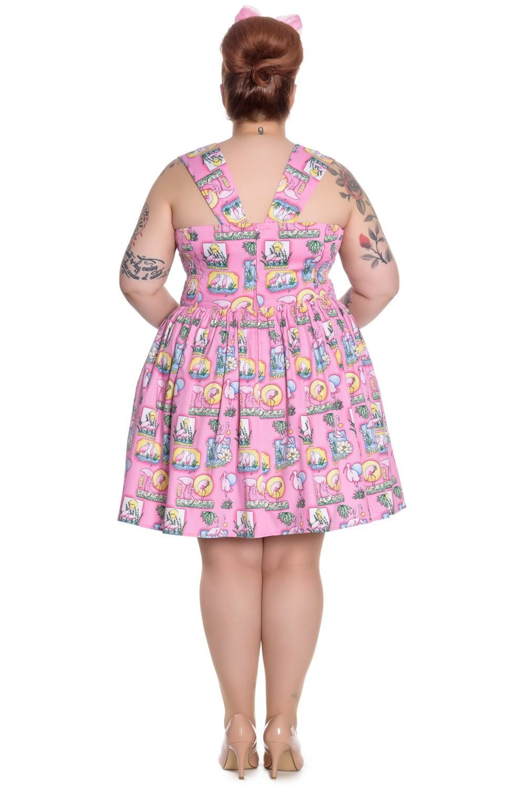 Hell Bunny Pink Flamingo Dress - Front Full Image