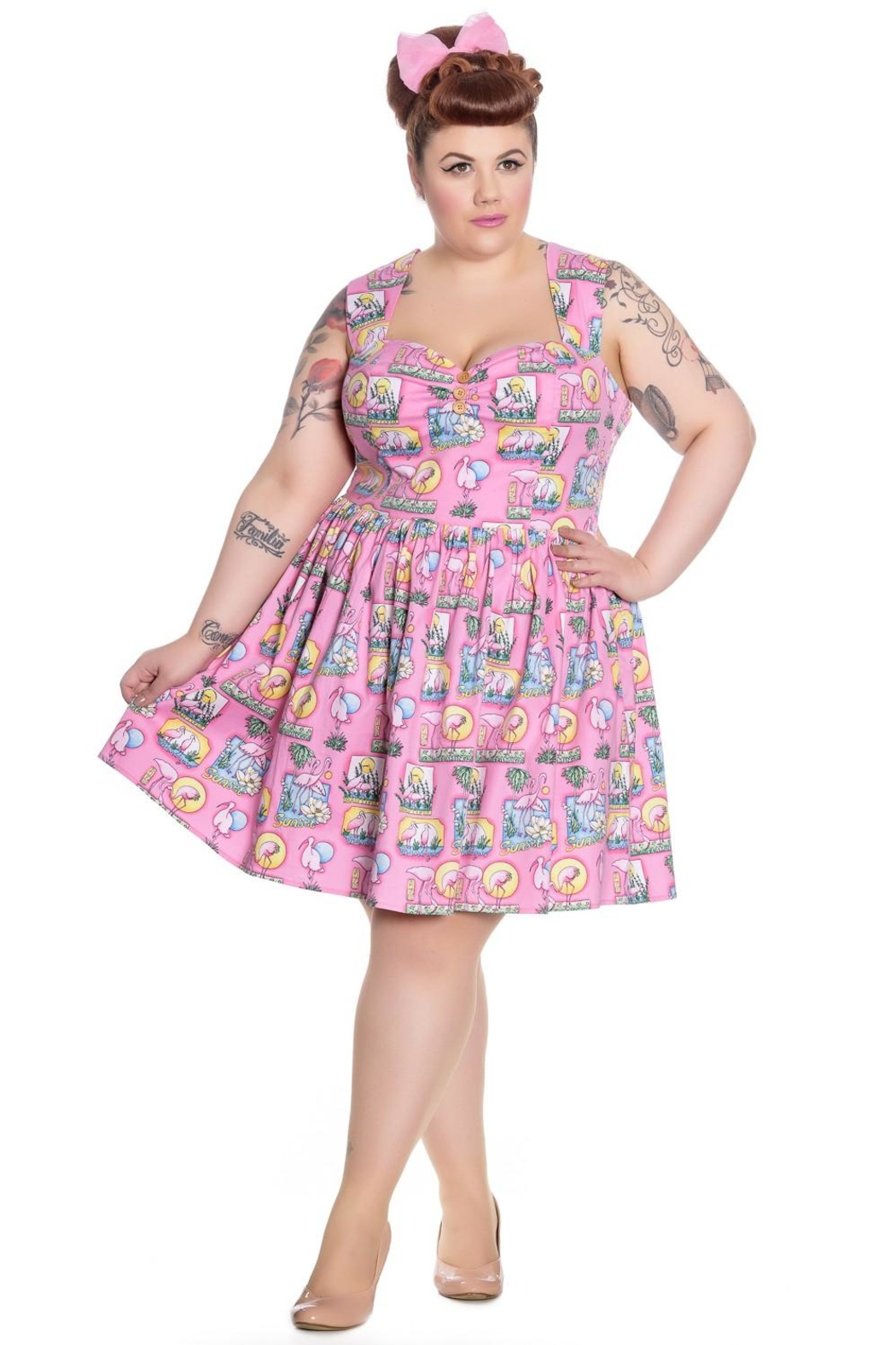 Hell Bunny Pink Flamingo Dress - Front Cropped Image