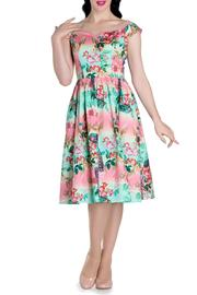 Hell Bunny Vintage Style Peacock Dress - Front cropped