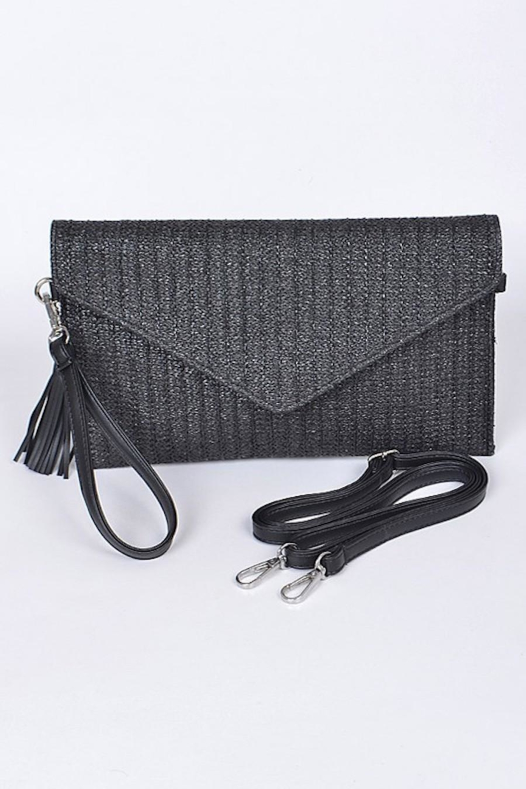 Hello 3am Envelope Black Straw-Clutch - Main Image