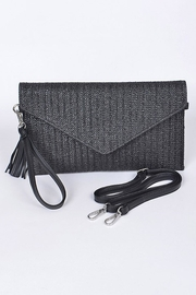 Hello 3am Envelope Black Straw-Clutch - Front cropped