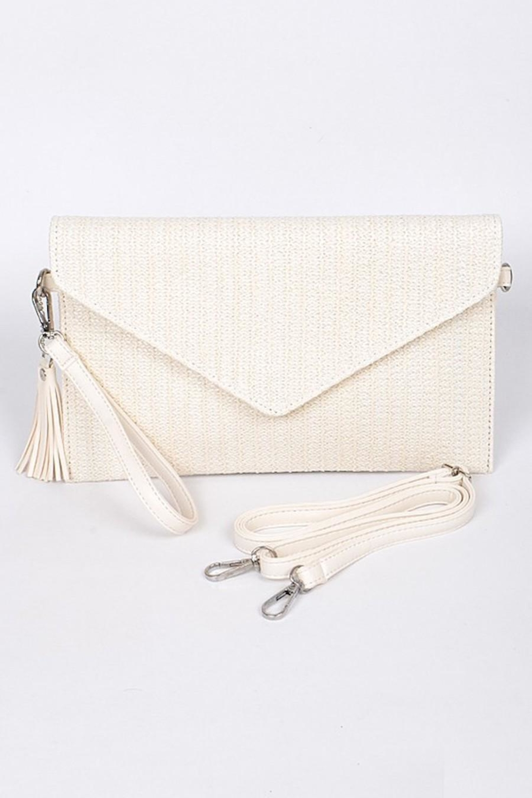 Hello 3am Envelope Ivory Straw-Clutch - Main Image