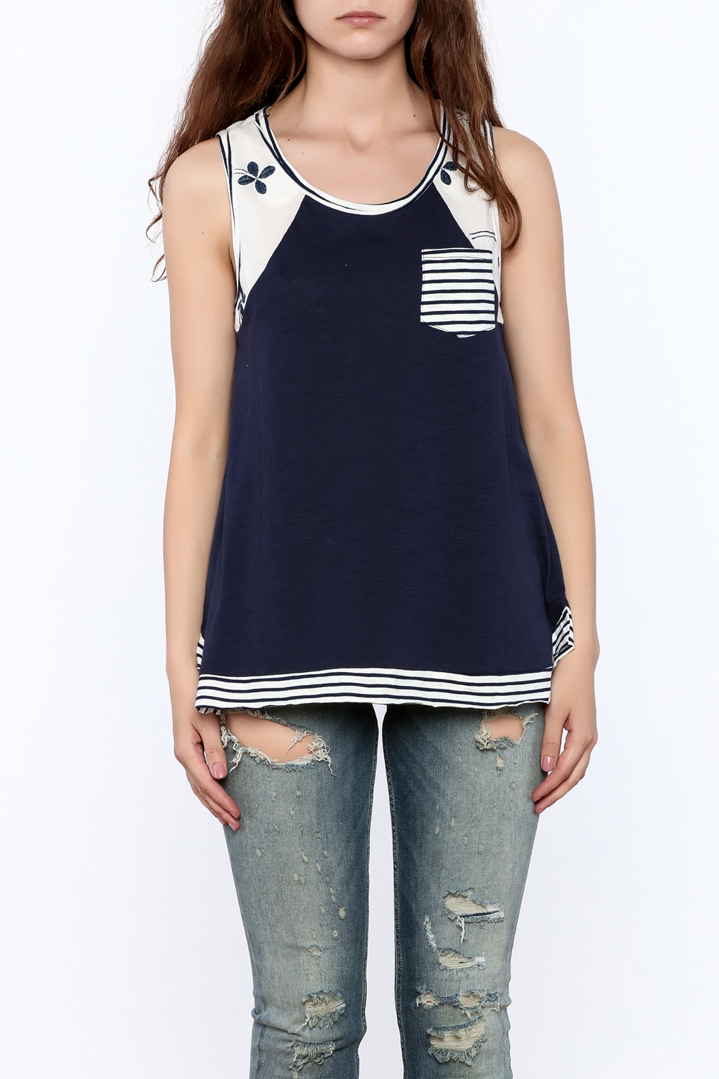 Hem & Thread Casual Blue Tank Top - Side Cropped Image