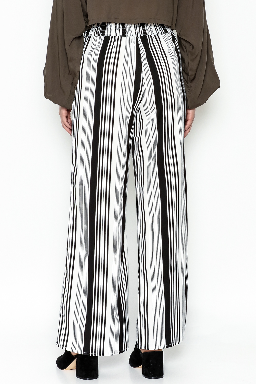 Hem & Thread Striped Pants - Back Cropped Image