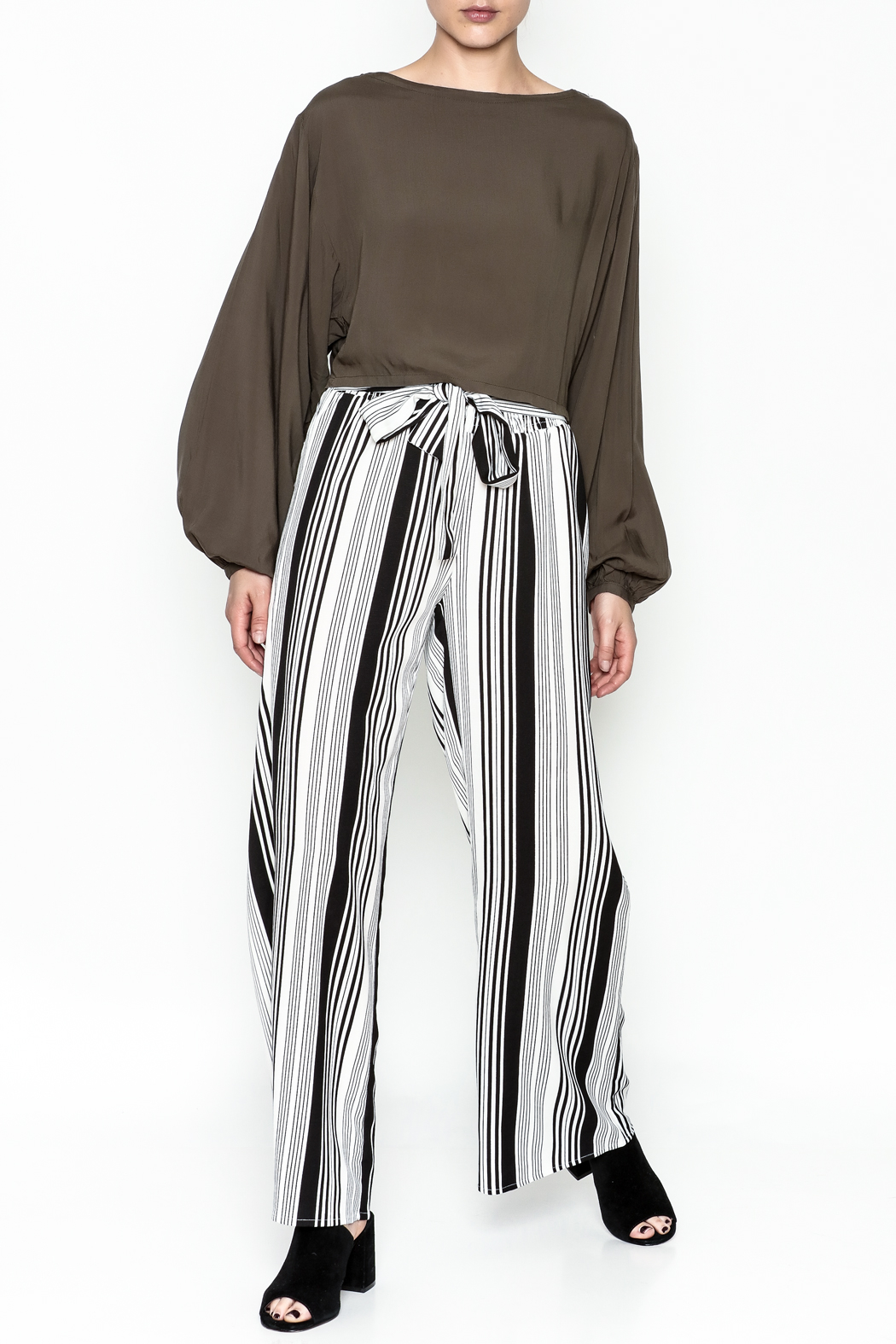 Hem & Thread Striped Pants - Front Full Image