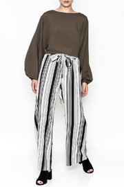 Hem & Thread Striped Pants - Front full body
