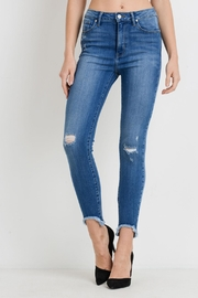 just black Hem Destructed Jeans - Product Mini Image