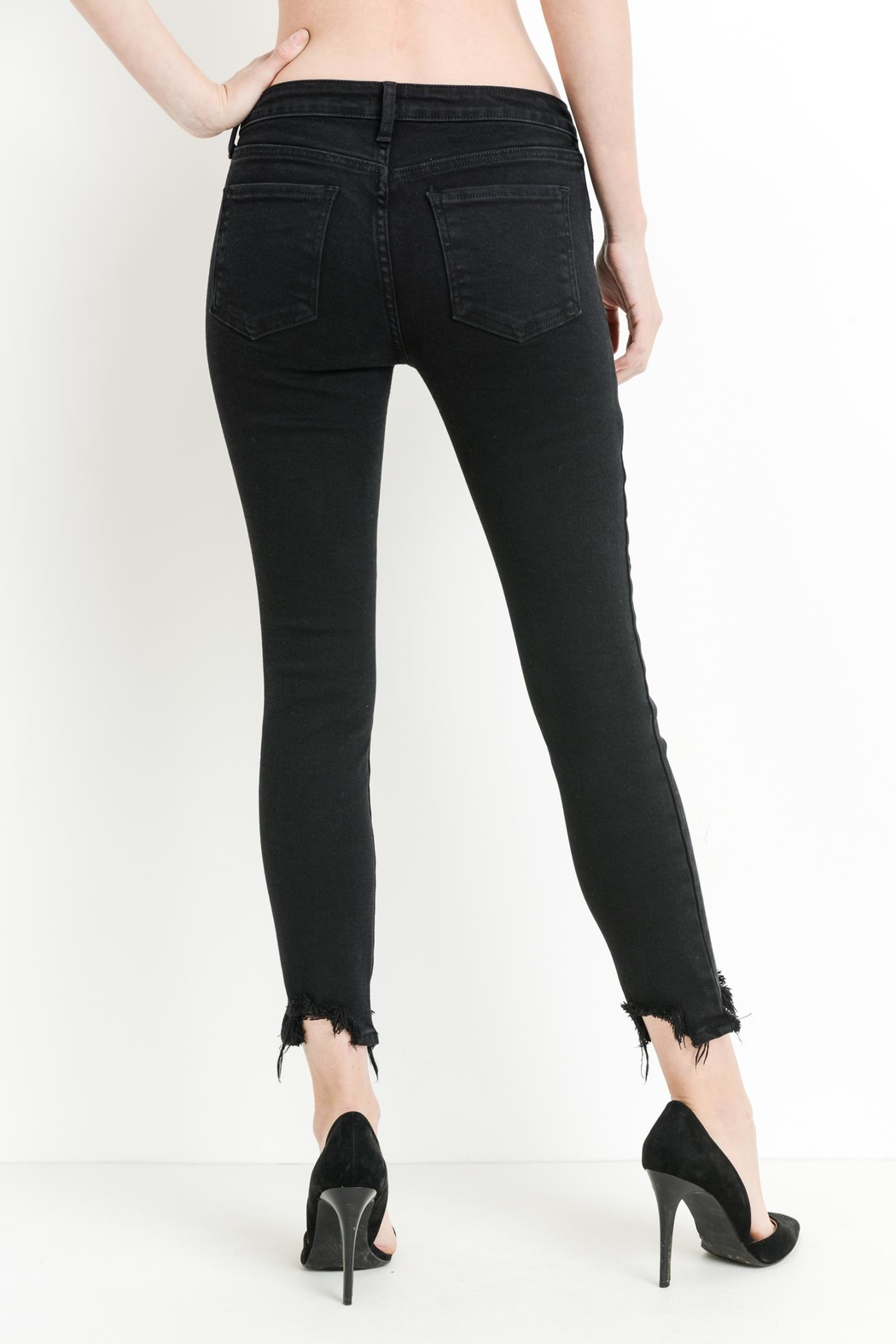 just black Hem Destruction Skinny - Front Full Image