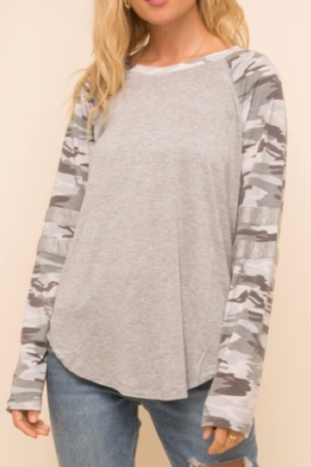 Hem & Thread Grey/ Multi Camo Raglan Sleeve Top - Main Image