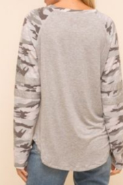 Hem & Thread Grey/ Multi Camo Raglan Sleeve Top - Front full body