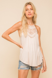 Hem & Thread Lace Trimmed Halter Top - Front cropped