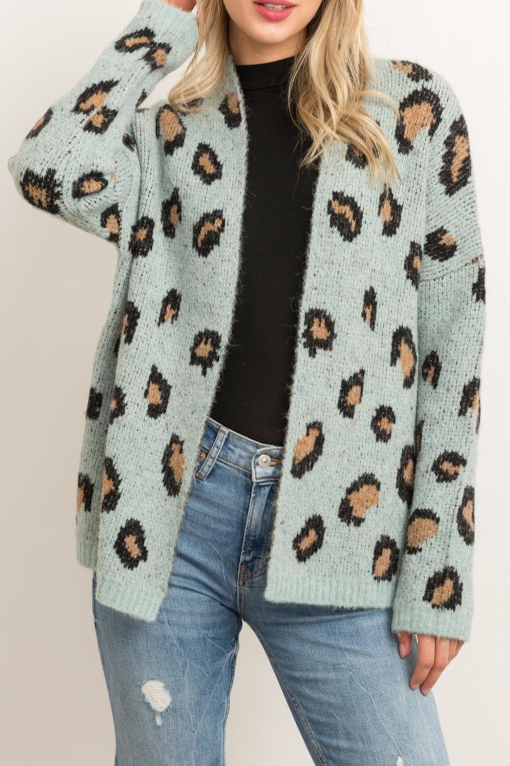 Hem & Thread Animal Print Cardigan - Front Cropped Image