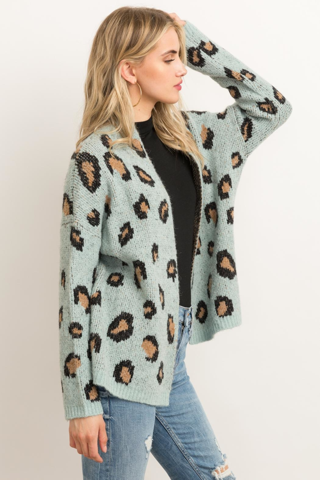 Hem & Thread Animal Print Cardigan - Side Cropped Image