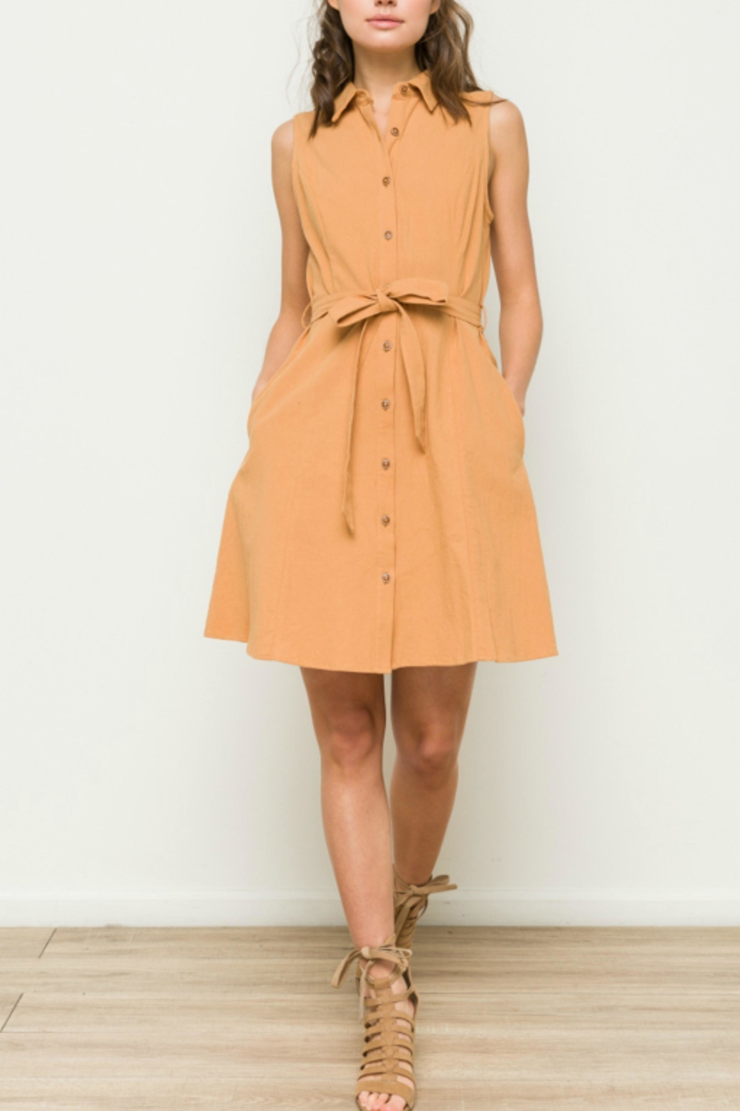 Hem & Thread Apricot Shirt Dress - Front Cropped Image