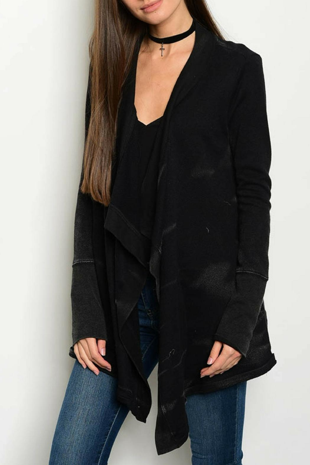 Hem & Thread Black Knit Cardigan - Front Cropped Image