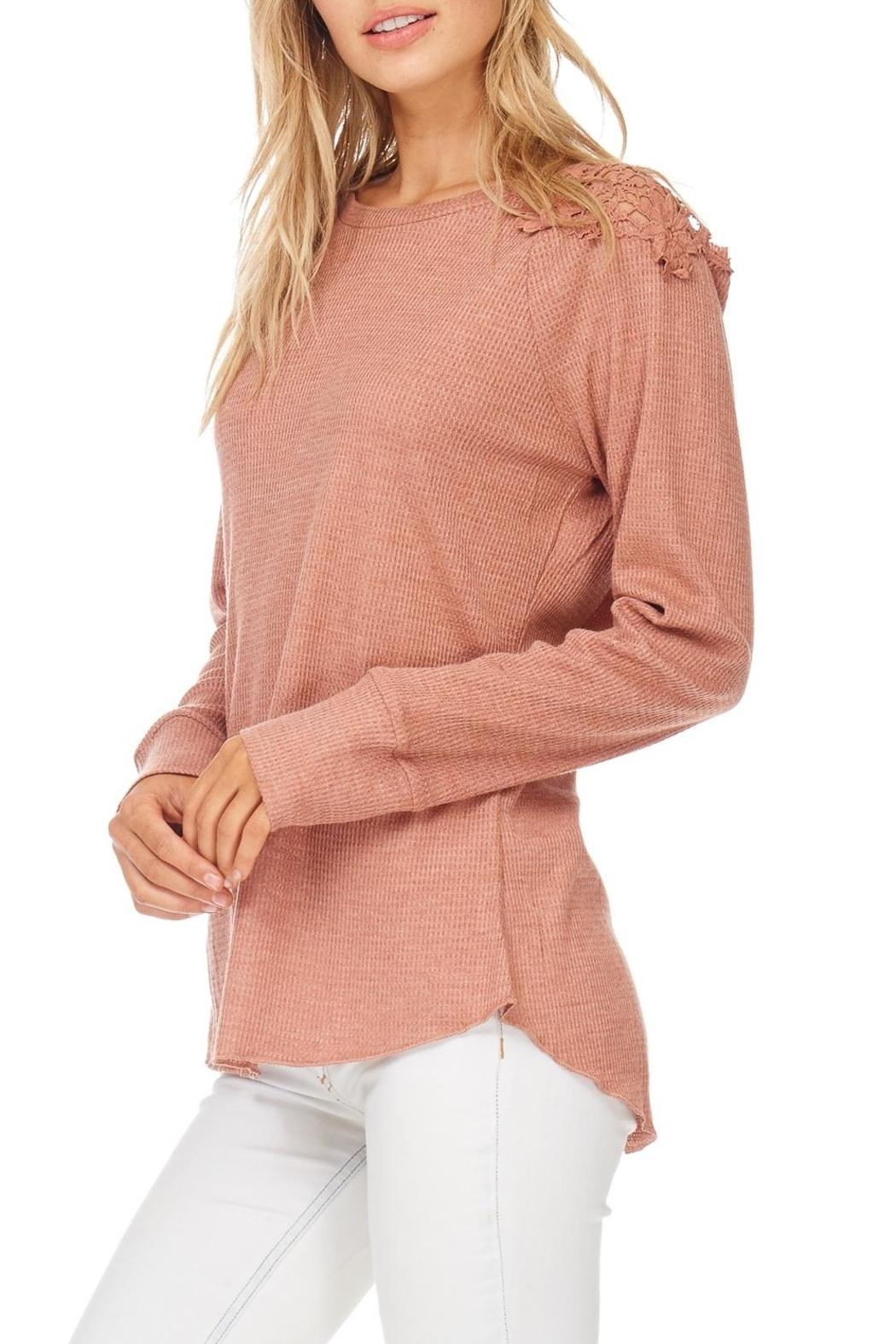 Hem & Thread Blush Lace Shoulder Top - Front Full Image