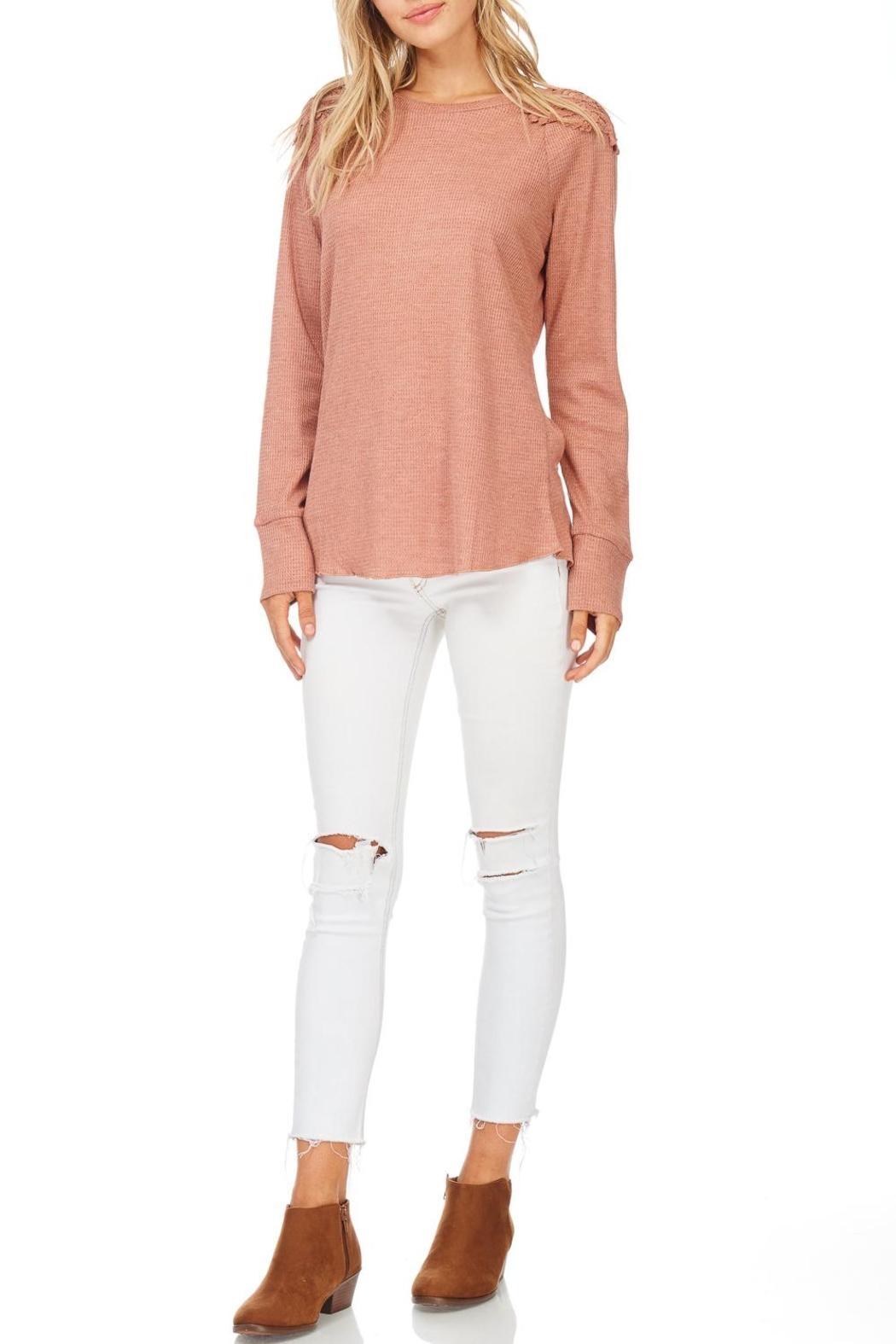 Hem & Thread Blush Lace Shoulder Top - Front Cropped Image