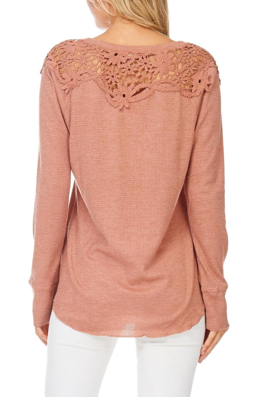 Hem & Thread Blush Lace Shoulder Top - Back Cropped Image