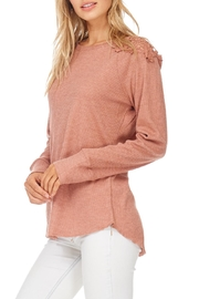 Hem & Thread Blush Lace Shoulder Top - Front full body