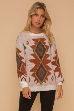 Shoptiques Product: Bohemian Aztec Tribal Crew Neck Knit Pullover Sweater