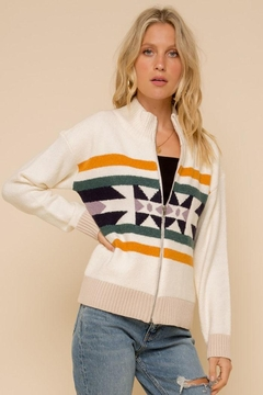 Shoptiques Product: Boho Bohemian Aztec Tribal Fair Isle Mock Neck Zip Up Sweater Knit Jacquard Jacket