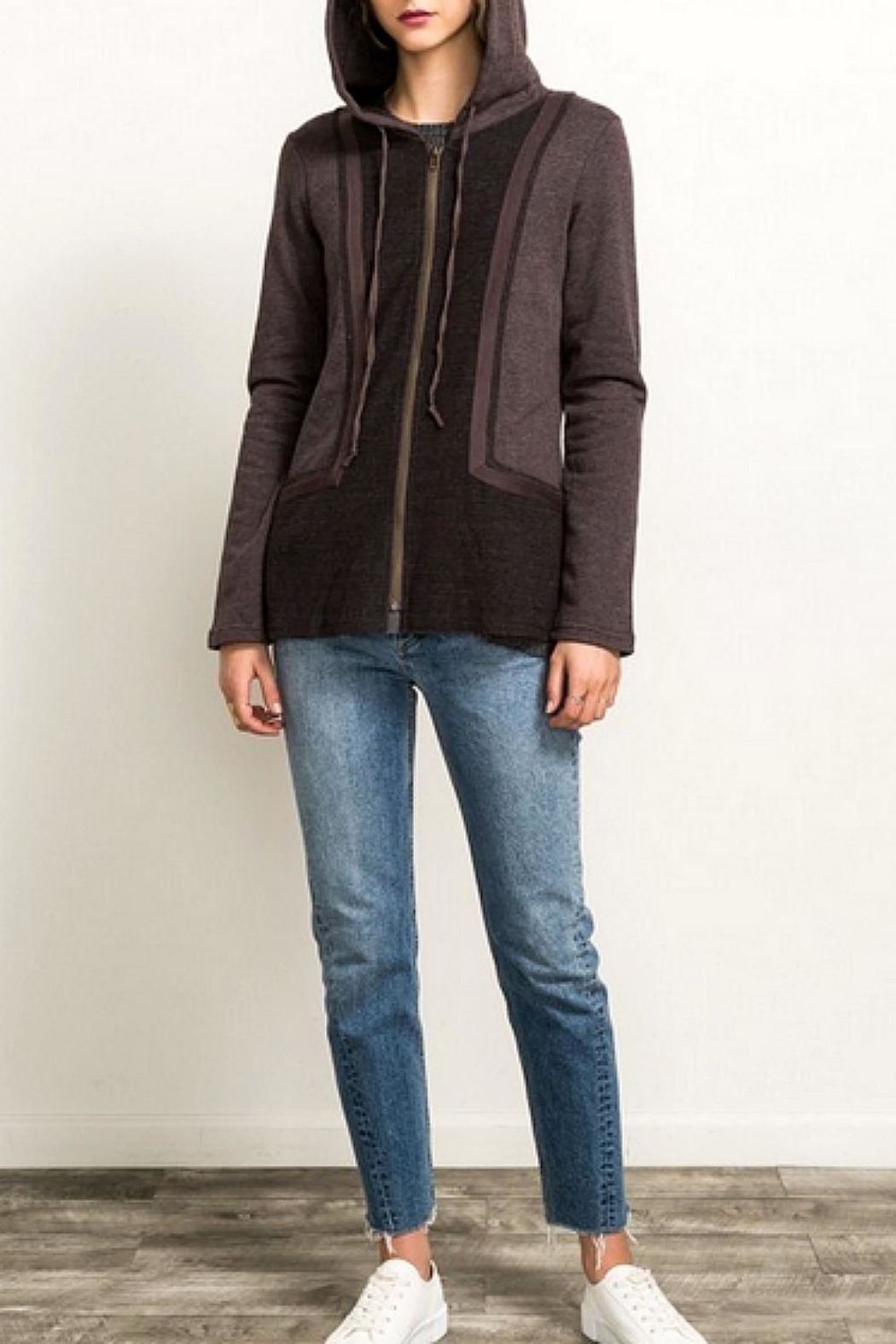 Hem & Thread Brown Contrast Sweatshirt - Front Cropped Image