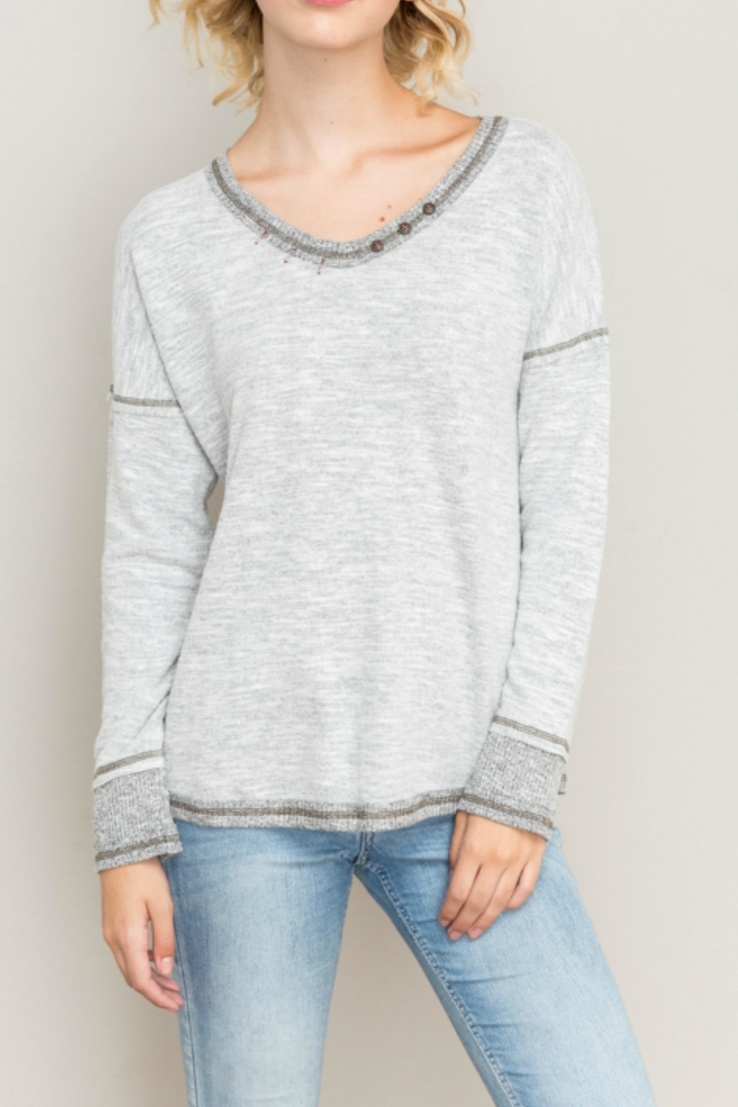 Hem & Thread Brushed Knit Sweater - Main Image