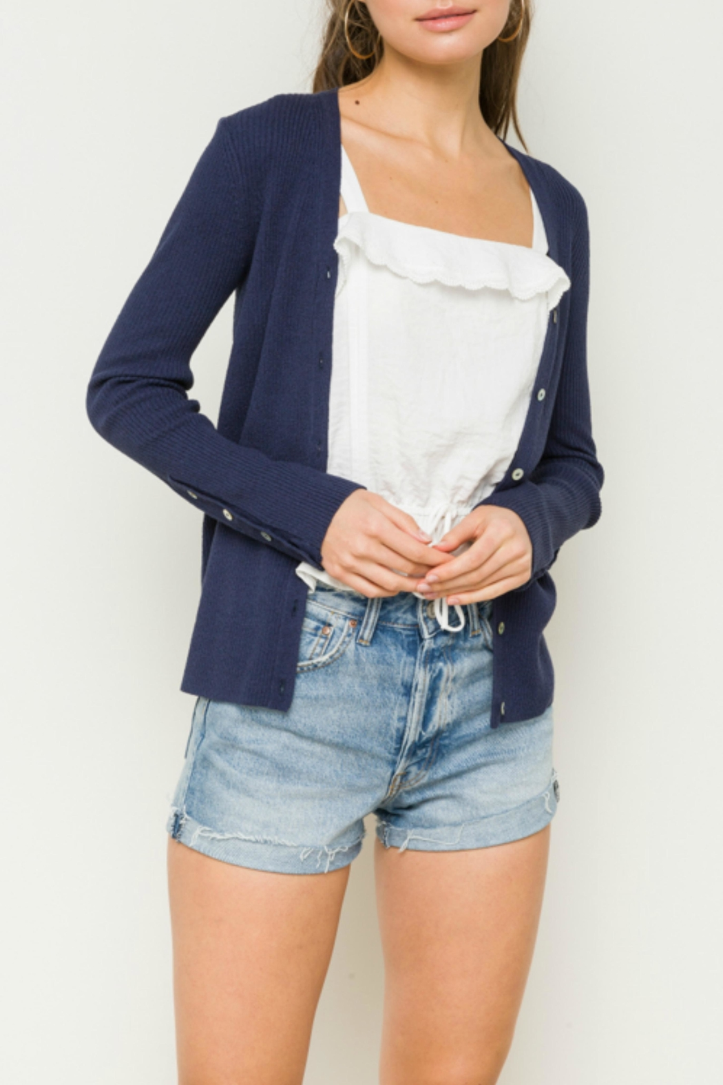 Hem & Thread Button Cardigan Sweater - Front Cropped Image