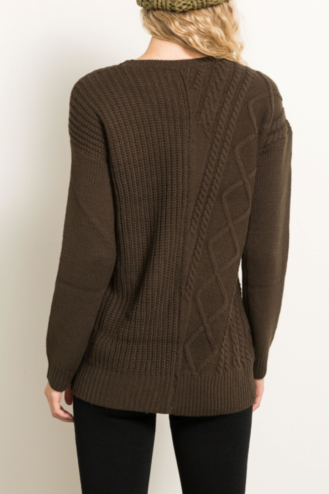 Hem & Thread Cable Knit Sweater - Front Full Image
