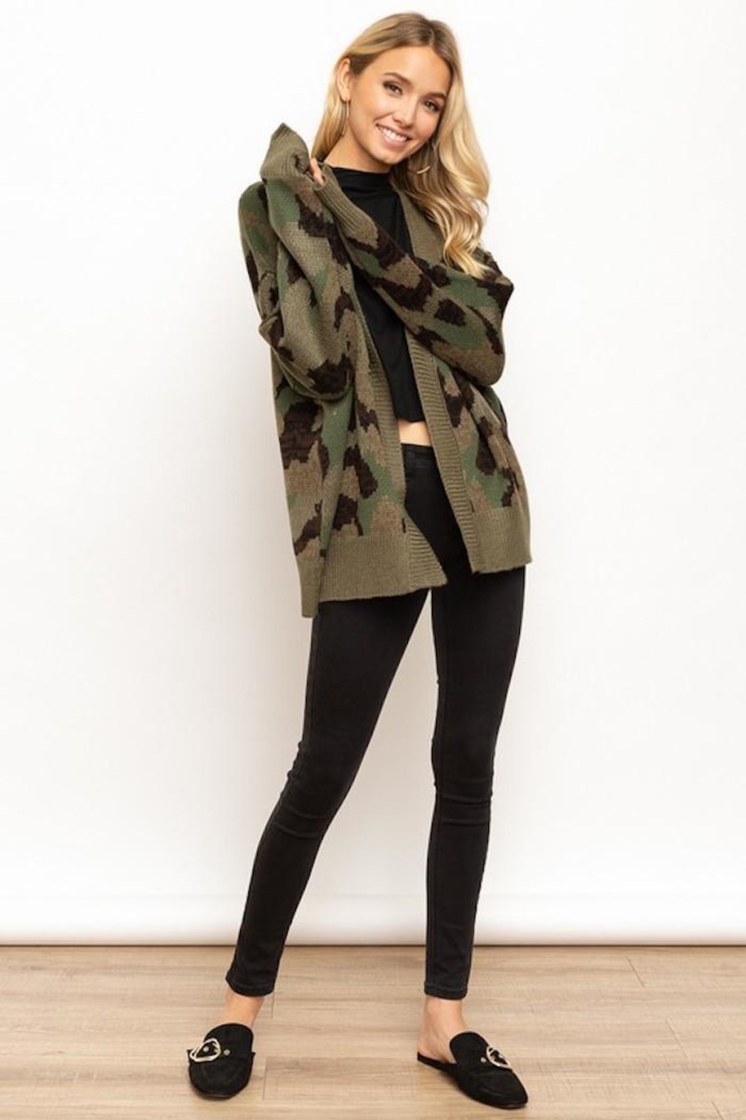 Hem & Thread Camo Cardi - Front Cropped Image
