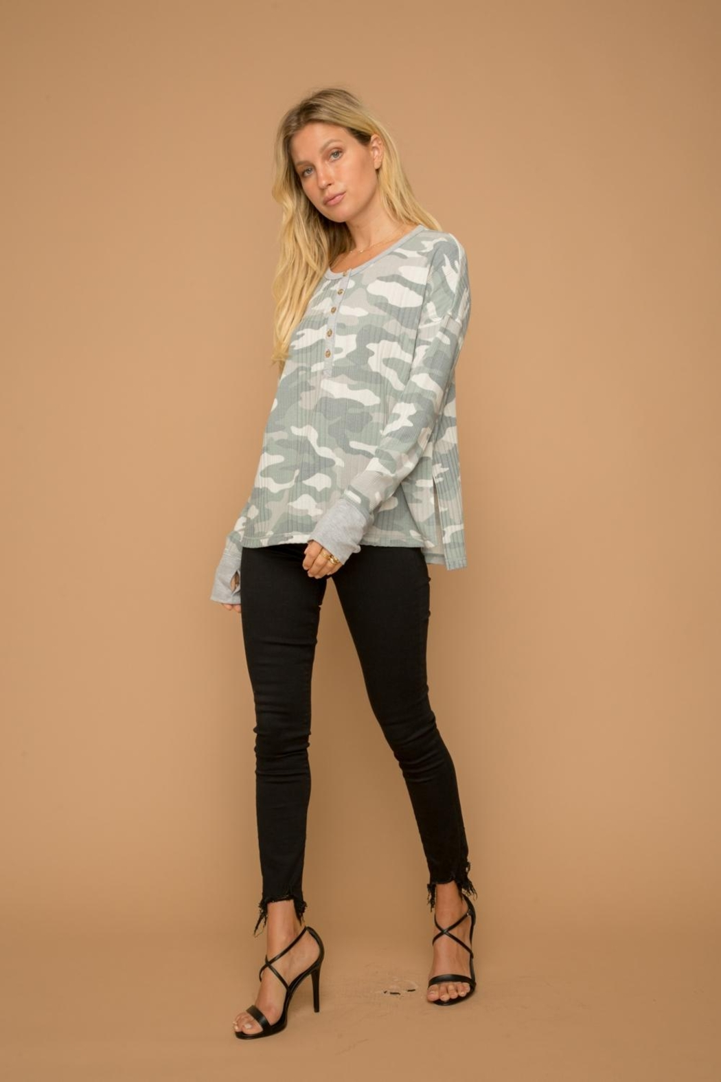 Hem & Thread Camouflage Henley Top - Front Full Image