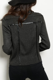 Hem & Thread Charcoal Sweater Jacket - Front full body
