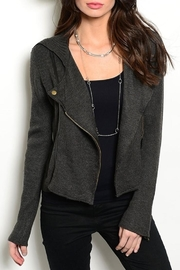 Hem & Thread Charcoal Sweater Jacket - Front cropped