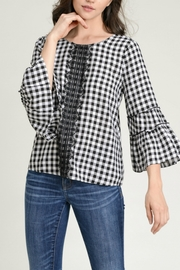 Hem & Thread Checked Bell Blouse - Product Mini Image