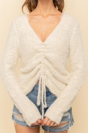Hem & Thread Chinched Crop Sweater - Front cropped