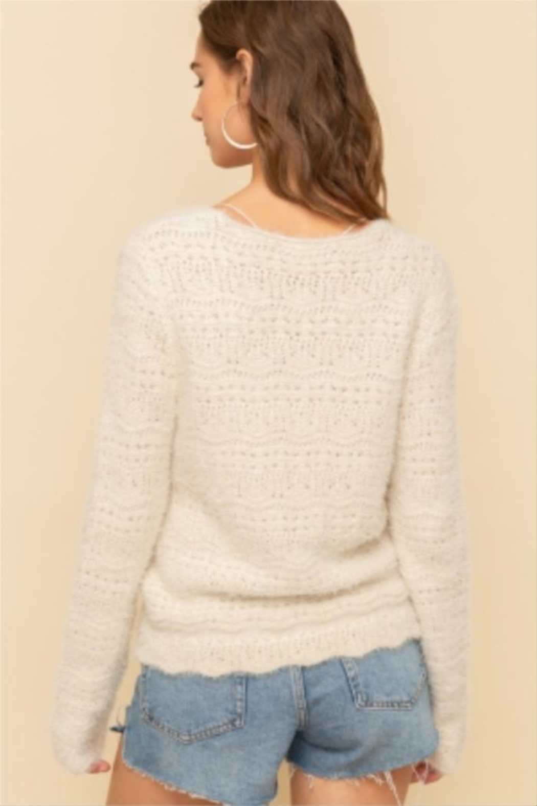 Hem & Thread Chinched Crop Sweater - Front Full Image