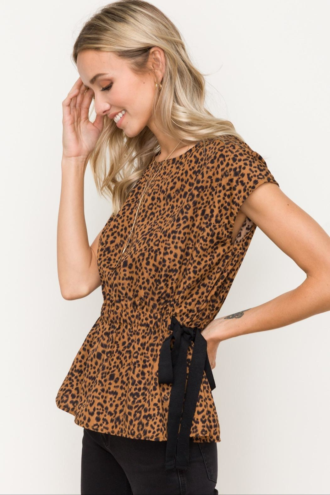 Hem & Thread Cinched Waist Top - Front Full Image