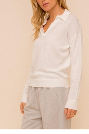 Hem & Thread Collared Vneck Sweater - Product Mini Image