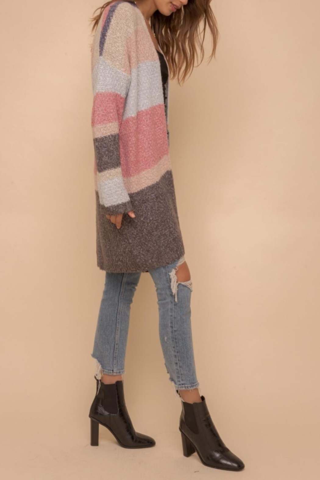 Hem & Thread Color Block Cardigan - Back Cropped Image