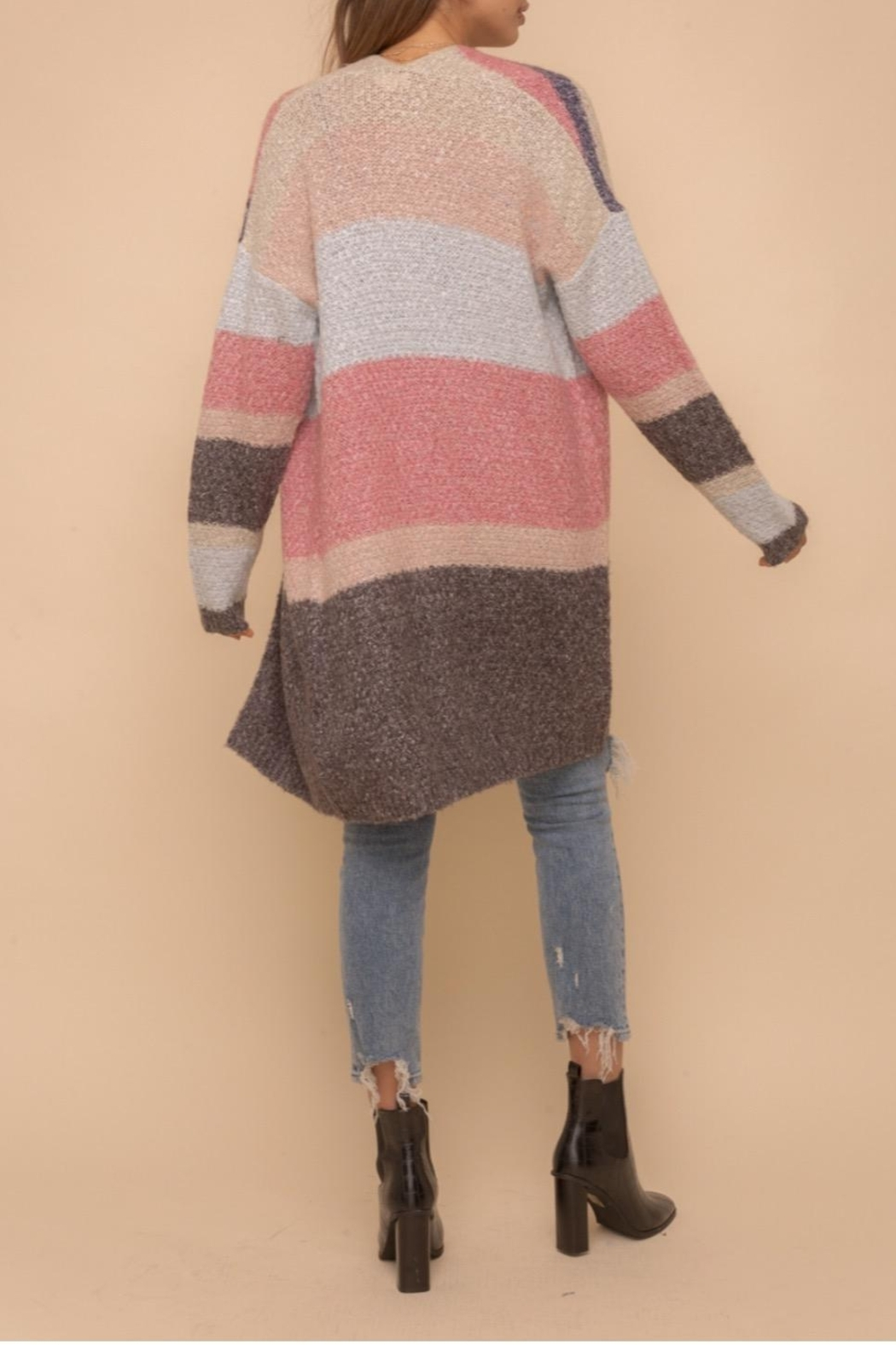 Hem & Thread Color Block Cardigan - Side Cropped Image