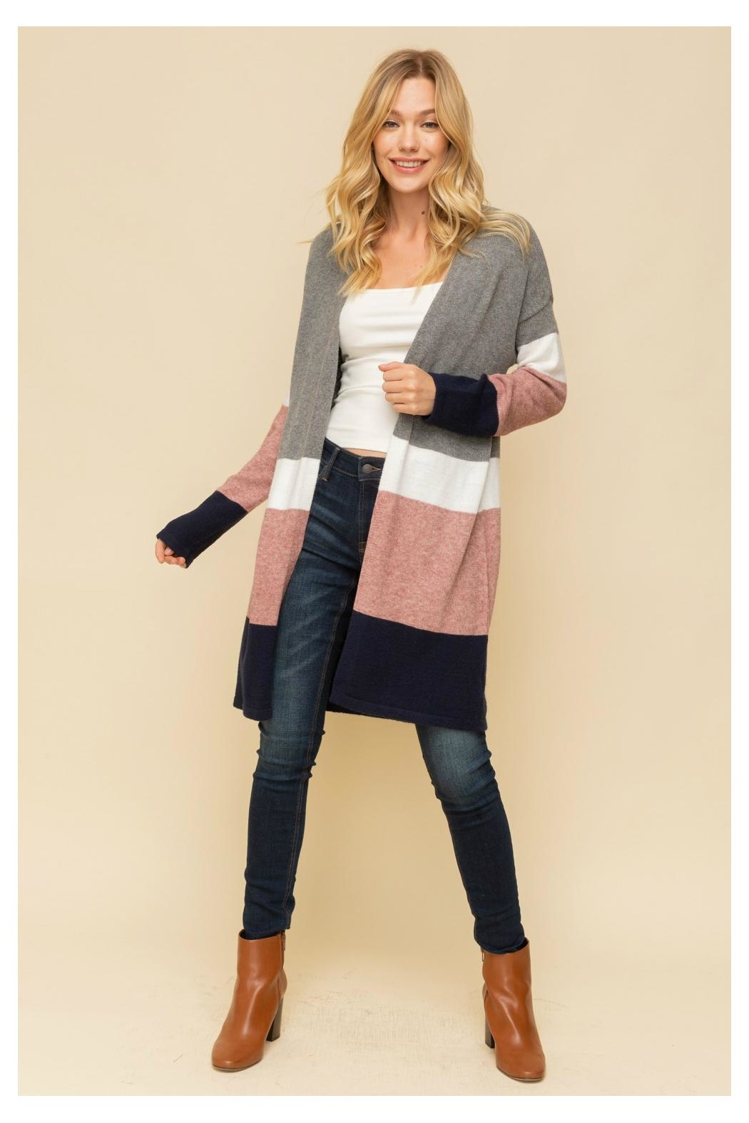 Hem & Thread Color/block Long Cardigan - Front Cropped Image
