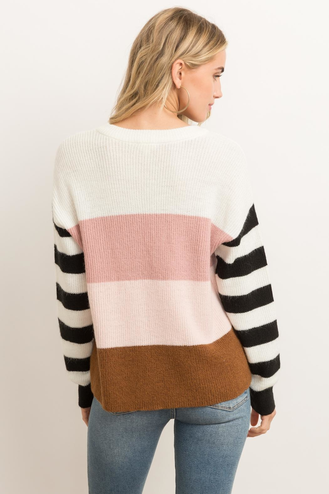 Hem & Thread Color Block Sweater - Front Full Image