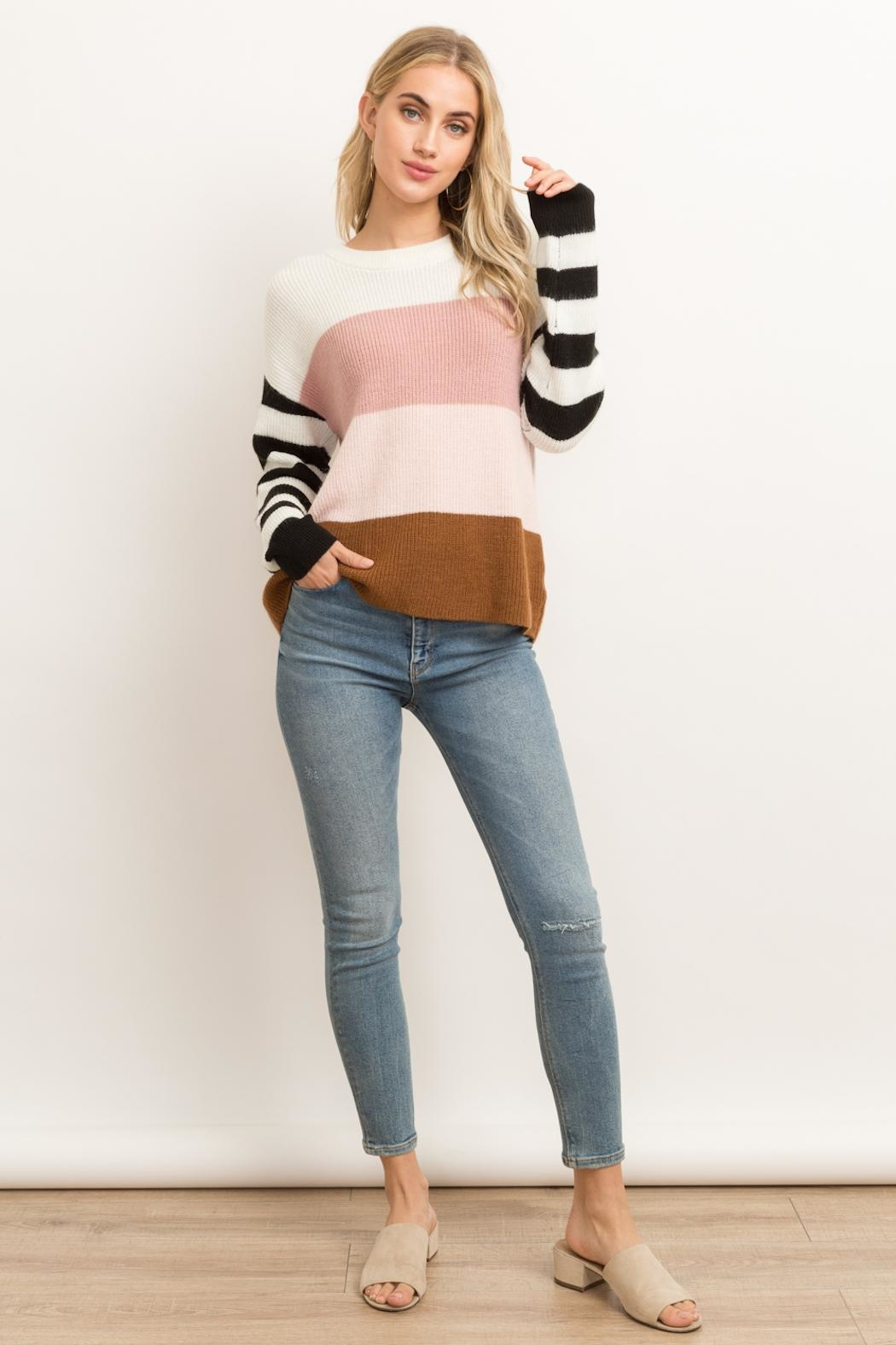 Hem & Thread Color Block Sweater - Back Cropped Image