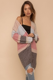 Hem & Thread Multi Color Colorblock And Stripe Open Cardigan - Product Mini Image