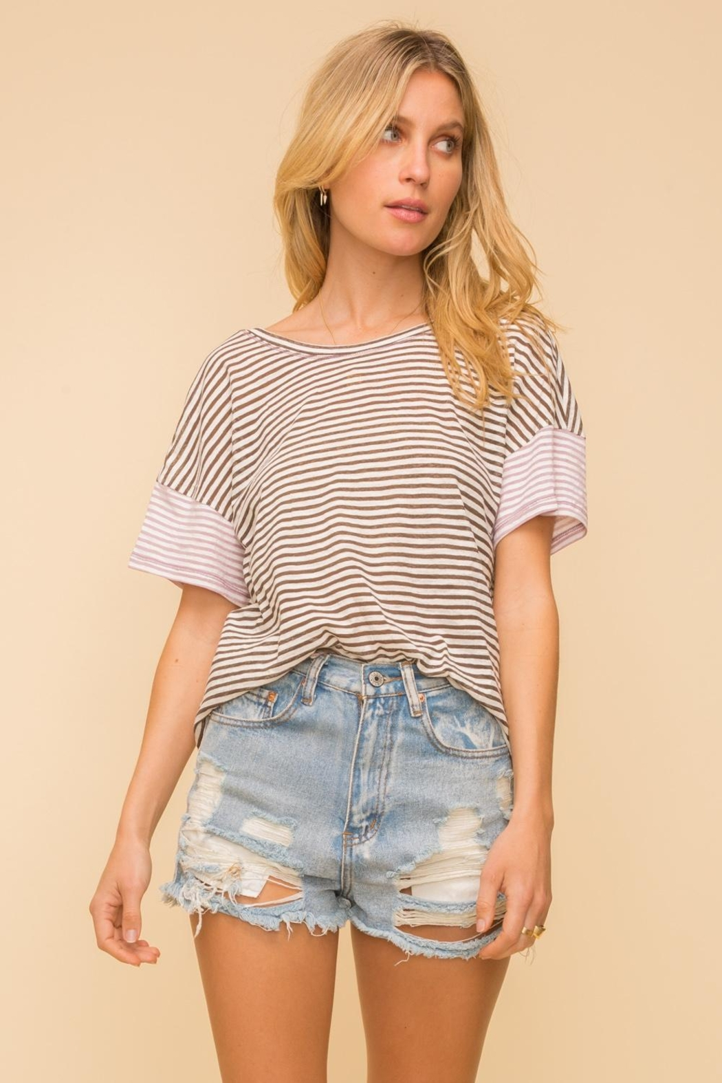Hem & Thread Contrast Stripe Tee - Front Cropped Image