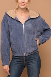 Hem & Thread Corduroy Hoodie Jacket - Front cropped