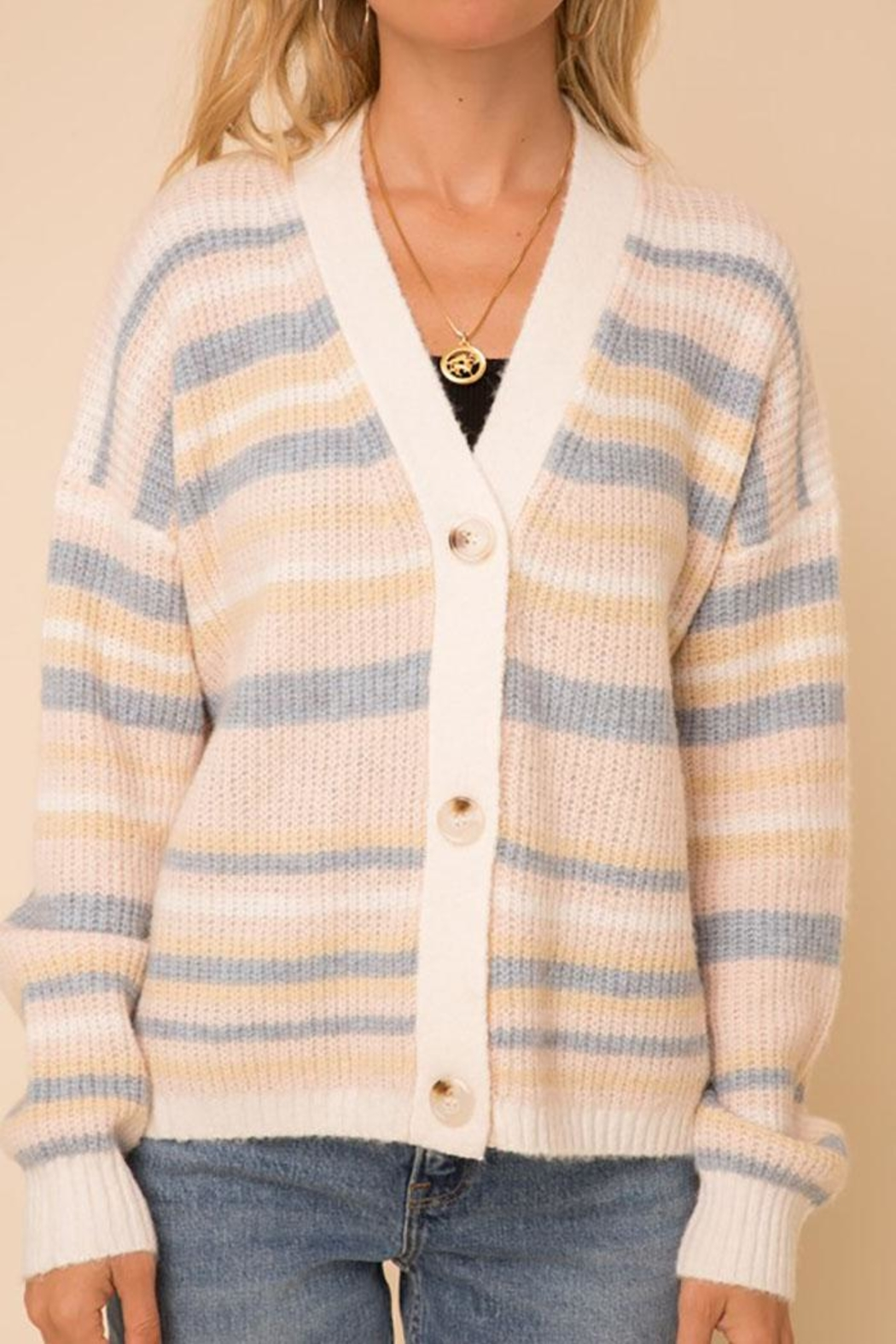 Hem & Thread Cozy Color Striped Sweater Cardigan - Side Cropped Image