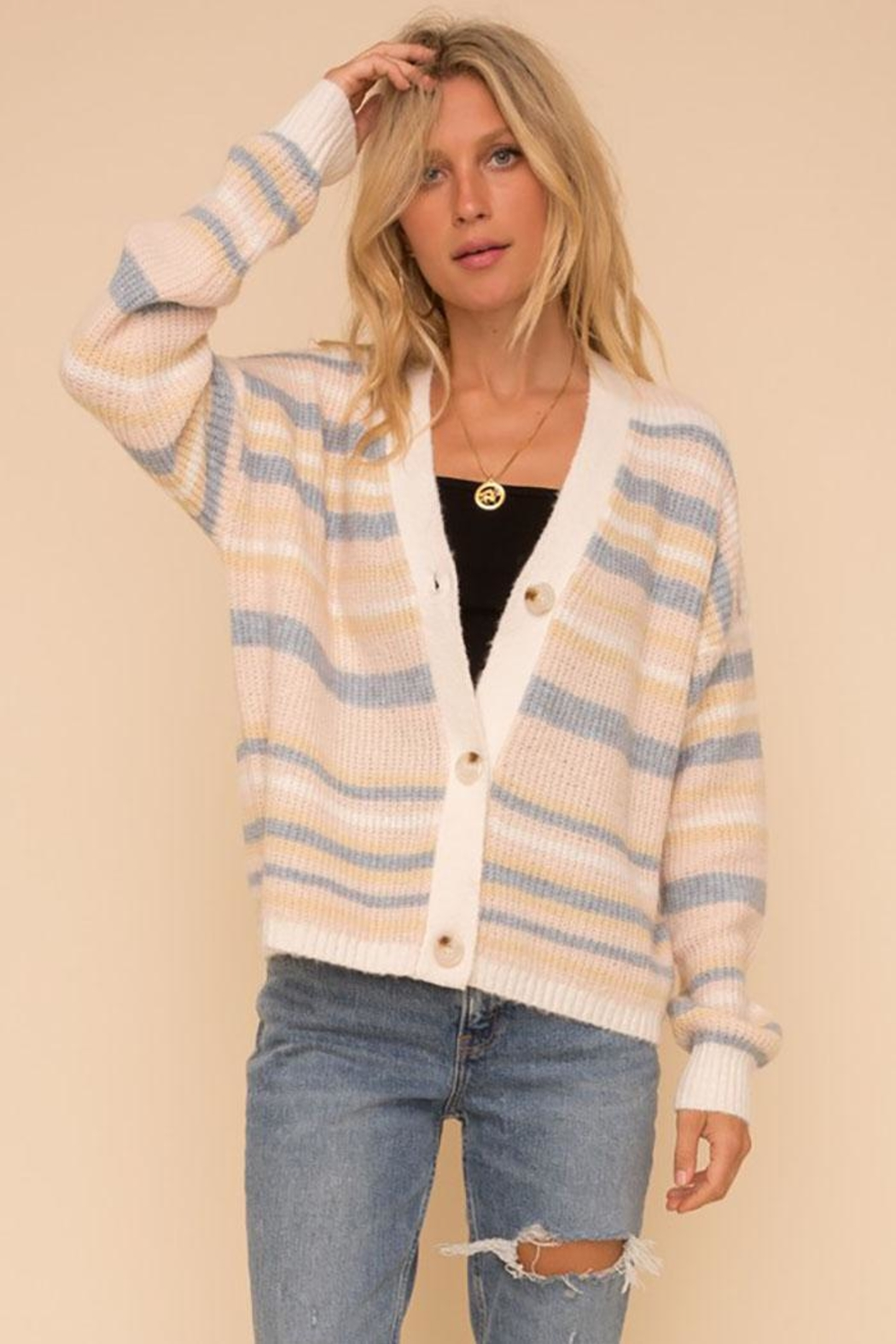 Hem & Thread Cozy Color Striped Sweater Cardigan - Back Cropped Image