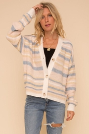 Hem & Thread Cozy Color Striped Sweater Cardigan - Back cropped
