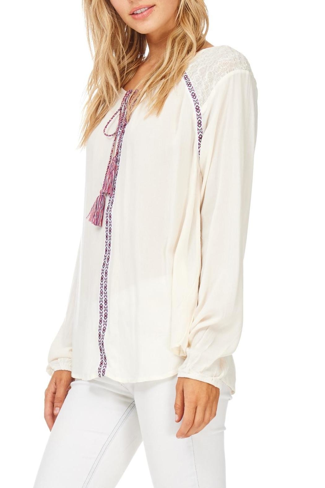 Hem & Thread Cream Embroidered Detail Blouse - Front Full Image